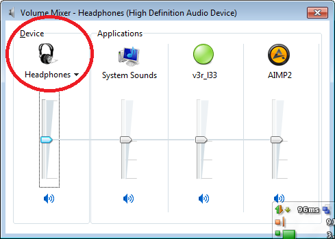 volume mixer windows 7